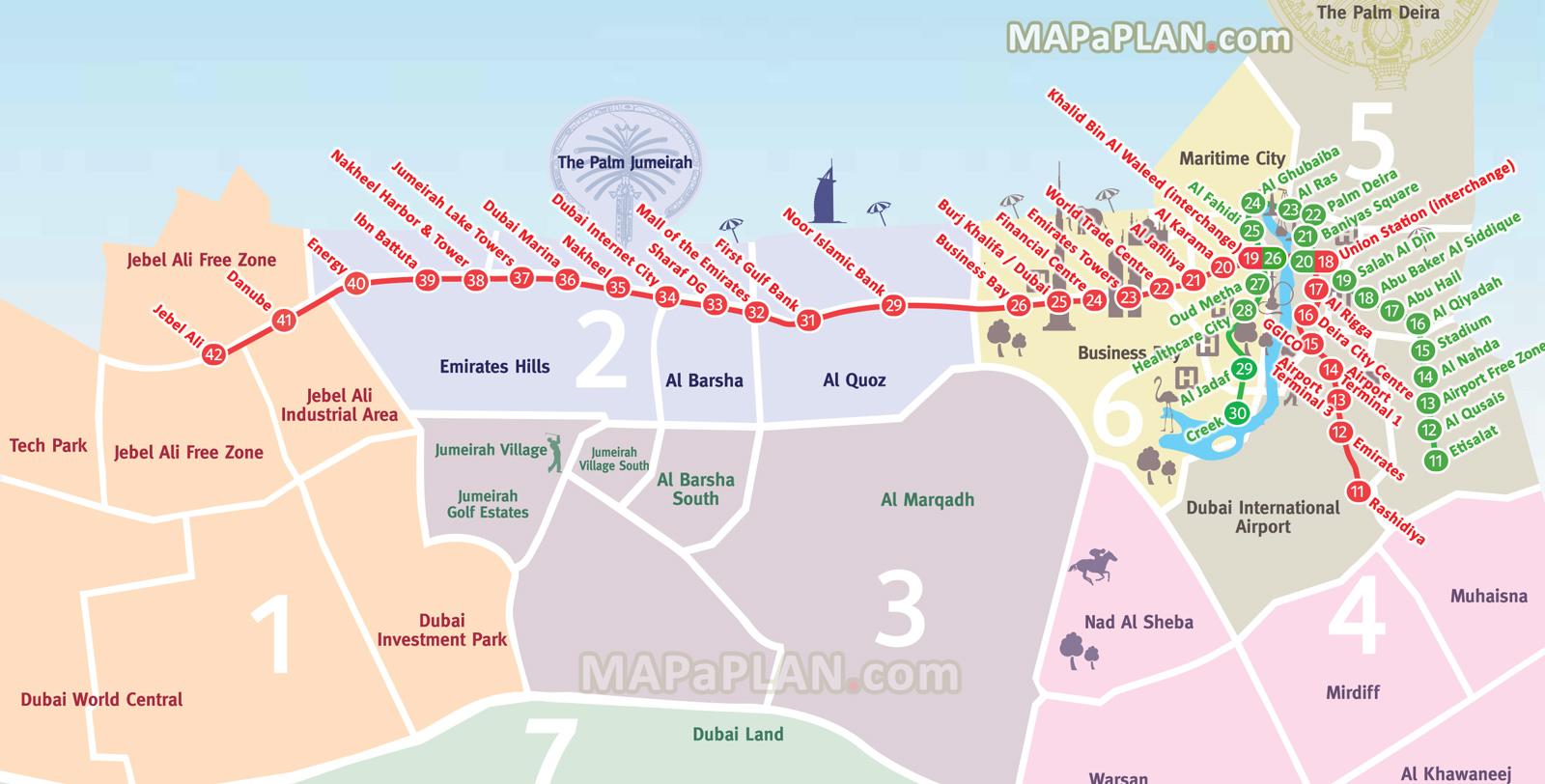Dubai Metro RTA Linienplan