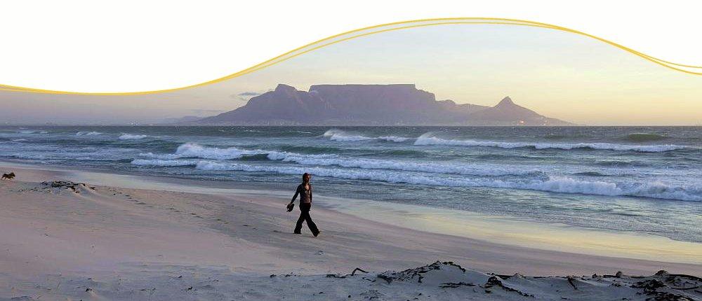 Blick vom Bloubergstrand auf Kapstadt, Südafrika