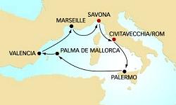 Costa Kreuzfahrten Routenübersicht